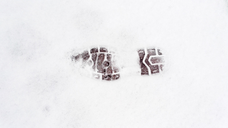 Trace de pas sur la neige